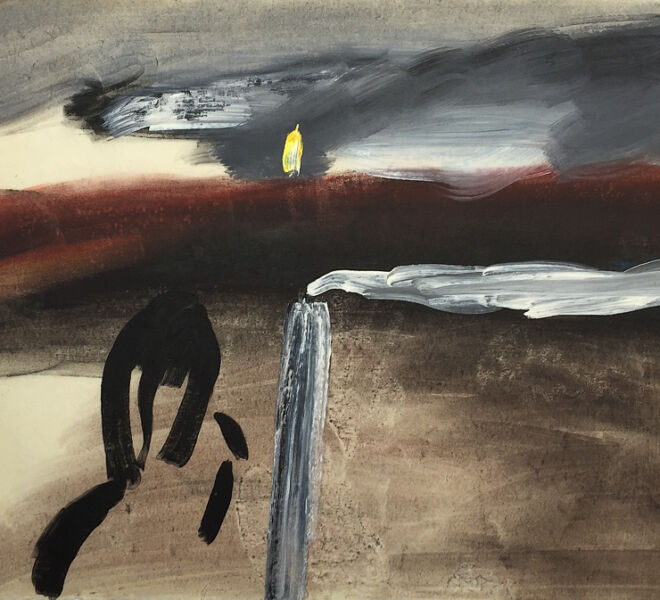 """Landscape with Figures, Smokestack, c. 1987, Acrylic on washi, 25"""" × 35.5"""""""