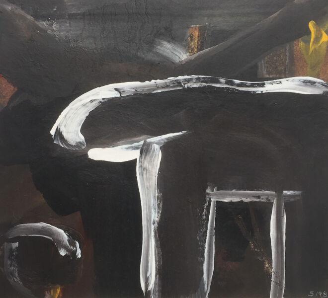 "Scene, 1986, Acrylic on washi, 7.5"" x 8.5"""
