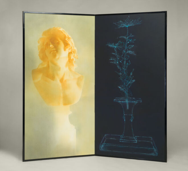 "Bust and X-ray Ikebana, 2007–2011, watercolor, acrylic on paper mounted on folding screen, 66.5"" x 70"""