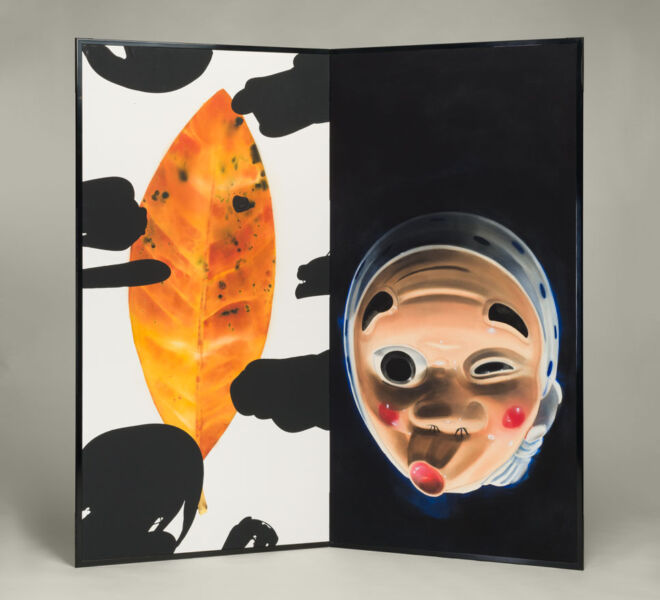 "Hyotoko and Leaf, 2007–2011, watercolor, acrylic on paper mounted on folding screen, 66.5"" x 70"""