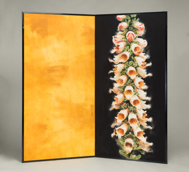 "Flowers and Yellow Abstract, 2007–2011, watercolor, acrylic on paper mounted on folding screen, 66.5"" x 70"""