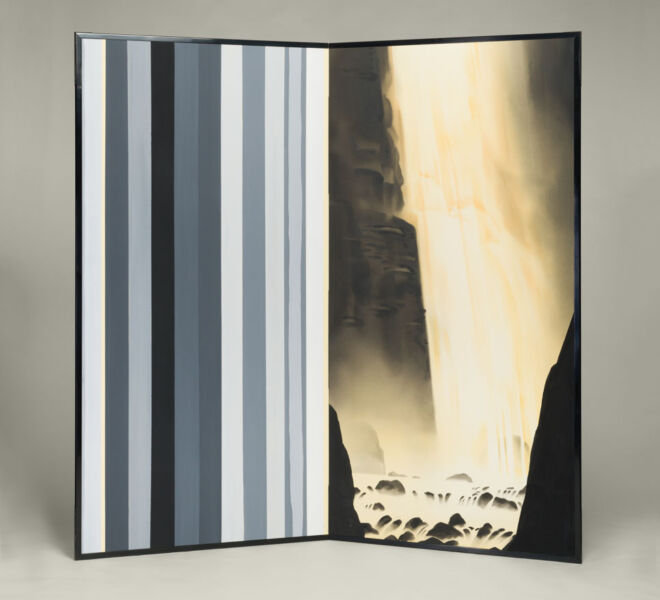 "Waterfall and Stripes, 2007–2011, watercolor, acrylic on paper mounted on folding screen, 66.5"" x 70"""