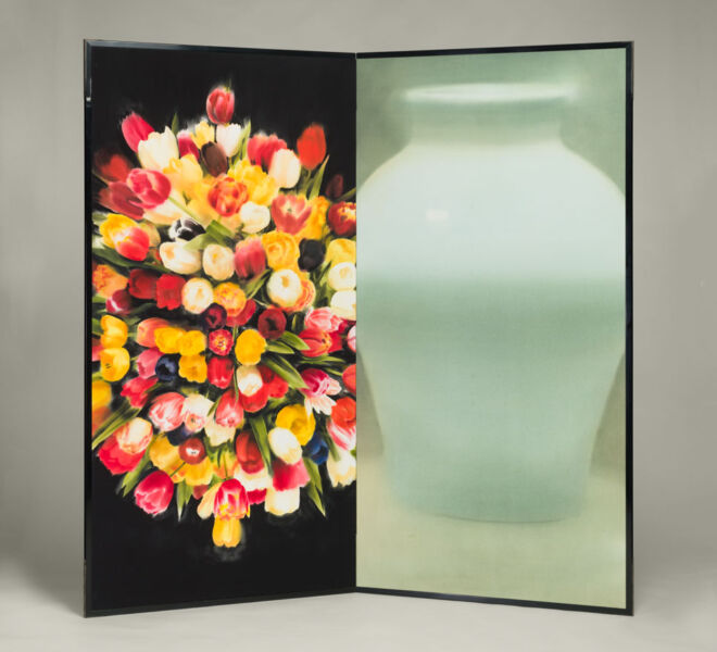 "Tsubo and Tulips, 2007–2011, watercolor, acrylic on paper mounted on folding screen, 66.5"" x 70"""