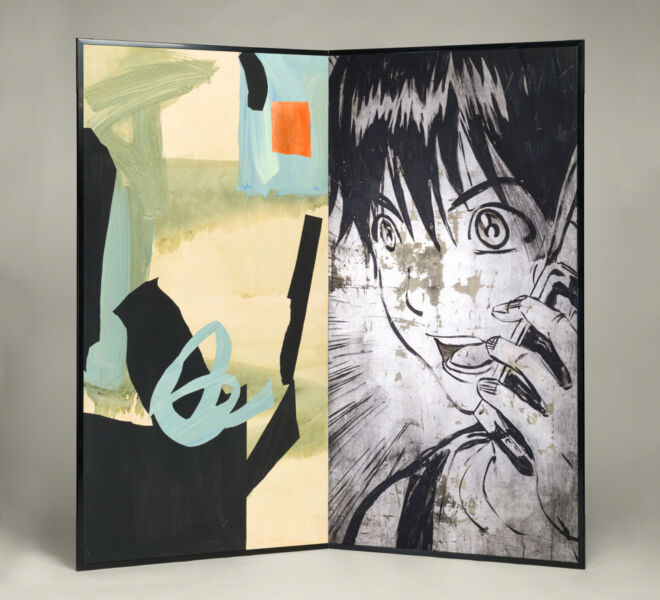 "Manga and Abstract, 2007–2011, acrylic, collage, silver leaf on paper mounted on folding screen, 66.5"" x 70"""