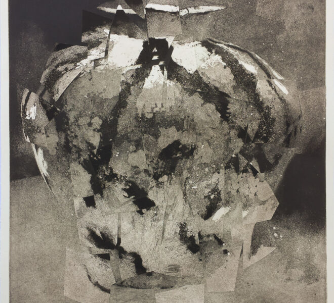 """Fractured, 2017, 37 1/4"""" × 30 1/4"""", monoprint, intaglio, collage on Hahnemuhle"""