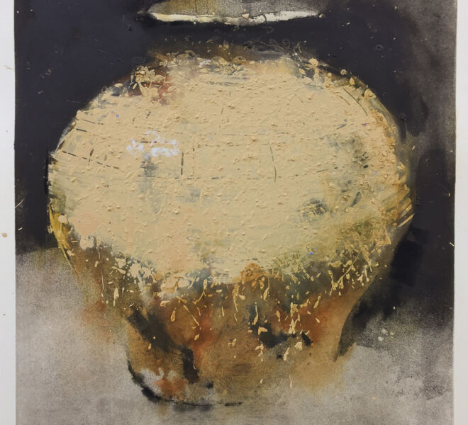 "Homage, 2017, 37 1/4"" × 30 1/4"", monoprint, intaglio, dirt, hand coloring on Hahnemuhle cotton rag"