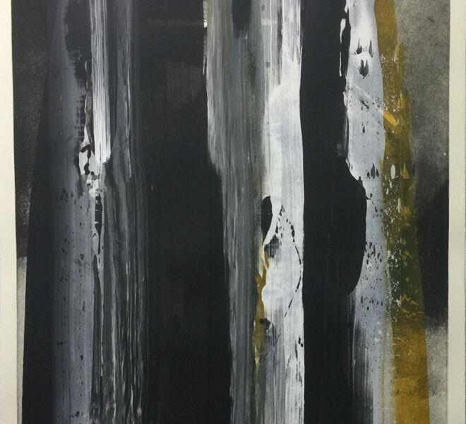 "Eternity, 2017, 37 1/4"" x 30 1/4"", monoprint, intaglio, acrylic, hand coloring on Hahnemuhle cotton rag"