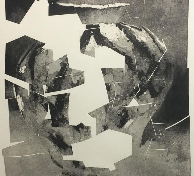 """Tumble, 2017, 37 1/4"""" x 30 1/4"""", monoprint, intaglio, collage on Hahnemuhle cotton rag"""