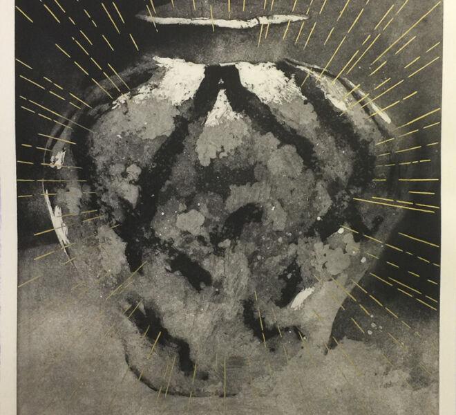 """Orumaiti, 2017, 37 1/4"""" × 30 1/4"""", monoprint, intaglio, collage on Hahnemuhle"""
