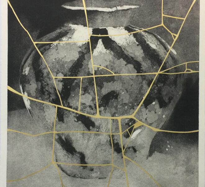 """Broken World, 2017, 37 1/4"""" × 30 1/4"""", monoprint, intaglio, collage on Hahnemuhle"""
